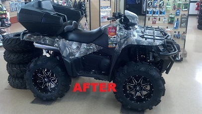 An after photo of the previous ATV, after the parts department customized it